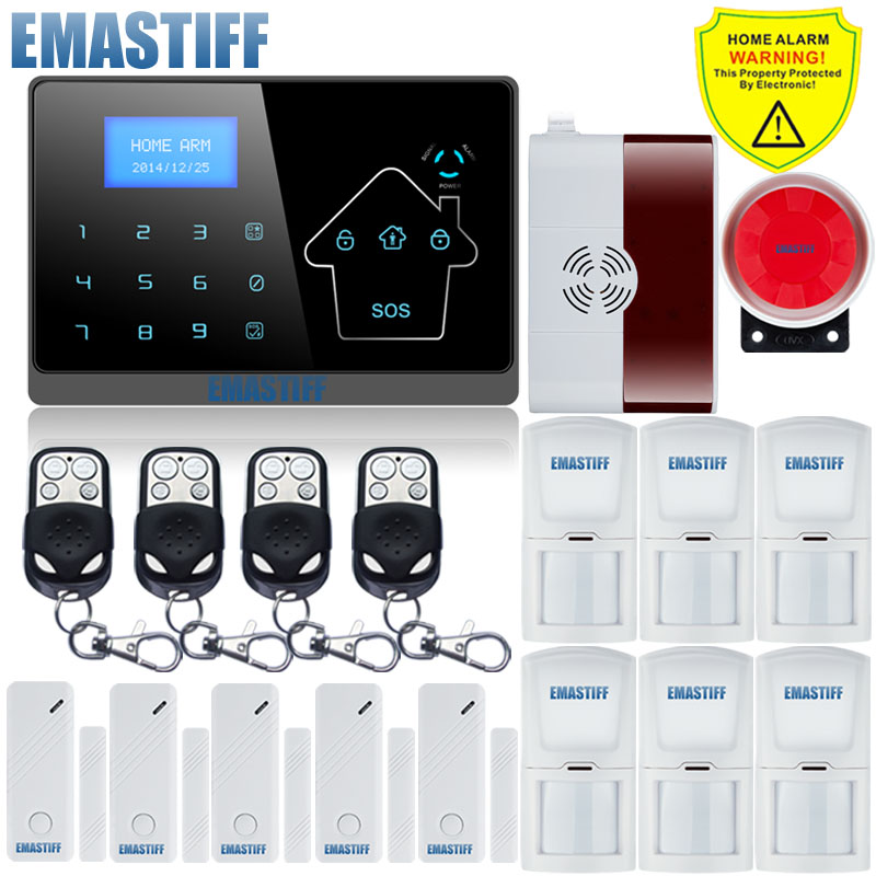 APP LCD Smart Touch Keypad Wireless wired GSM PSTN Quad4 Band SMS Gas Sensor Home Security Voice Burglar Alarm System Auto Dial android ios app sensor dual network gsm pstn 2g sim call lcd smart dislay touch keypad home burglar security alarm