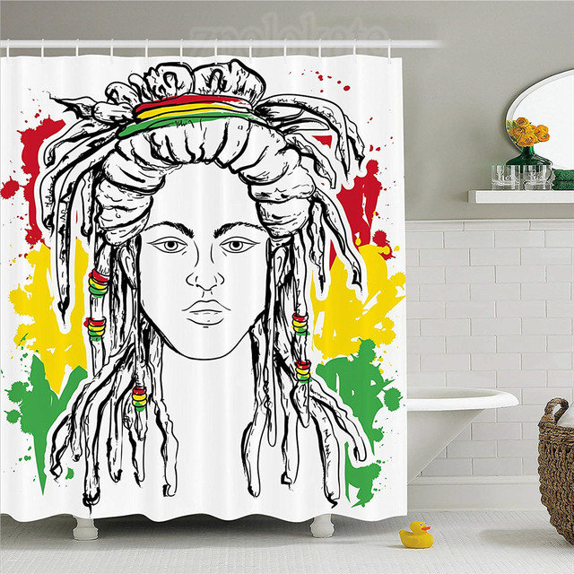 Rasta Shower Curtain Grunge Ethiopian Flag Colors With A Black And White  Sketchy Girl Image Fabric