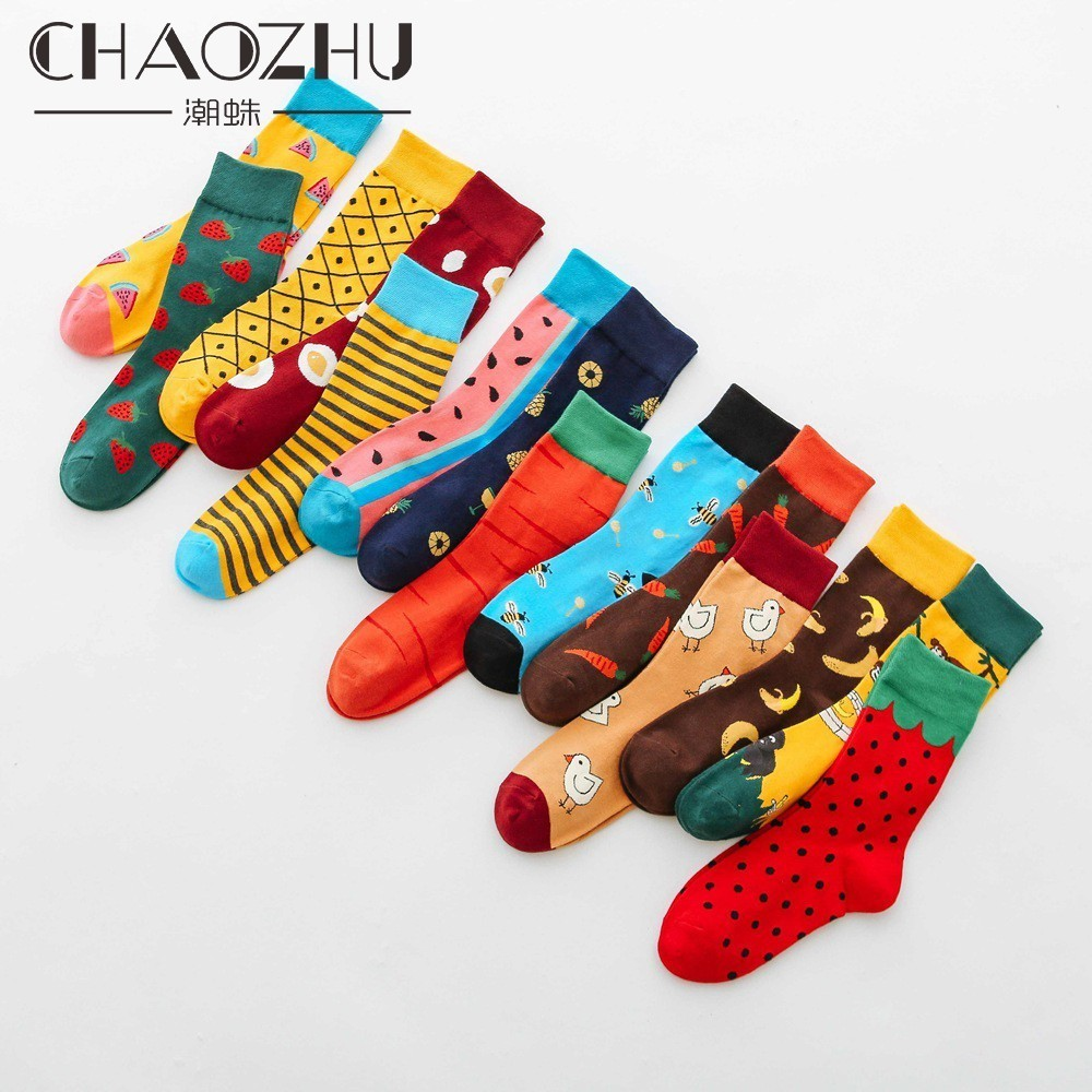 CHAOZHU Cartoon Childlike Cute Women Spring Autumn Winter Crew Socks Funny Watermelon Striped Street Snap Trendy Socks Women