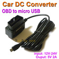 Car Charger OBD DC Converter Module 12V 24V To 5V 2A with micro USB Cable, Low Voltage Protection, Cable Length 3.5m 11.48ft