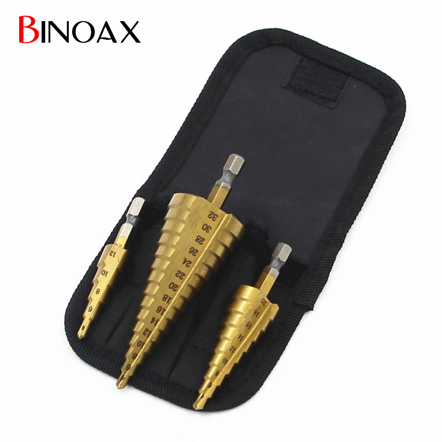 Binoax 3Pcs/lot Metric Spiral Flute Step HSS Steel 4241 Cone Titanium Coated Drill Bits Tools Set Hole Cutter 4-12/20/32mm+Pouch
