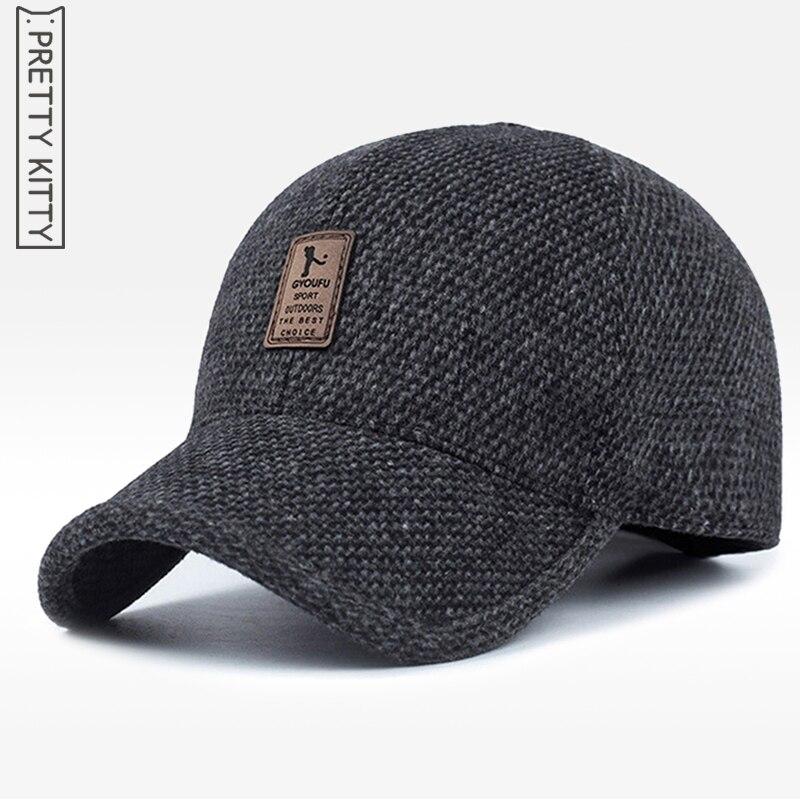 Prix pour JOLIE KITTY 2017 Chaud Hiver printemps Épaissie Baseball Cap Avec oreilles Hommes Coton Chapeau Snapback Chapeaux Oreillettes Pour Hommes chapeau