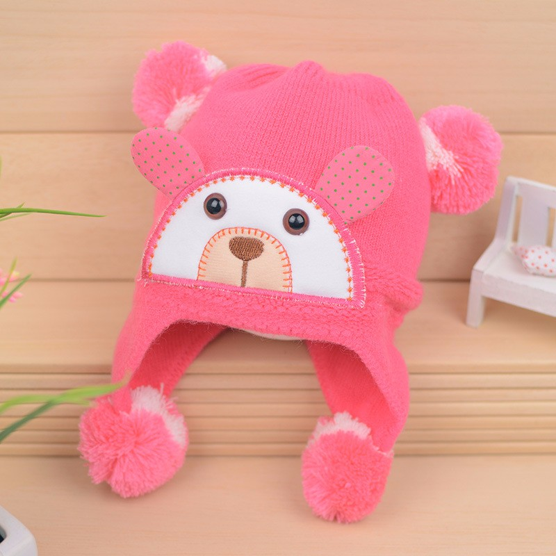 Bear Baby Hat Cotton Infant Caps Warm Ear Boys Beanies Thick Winter Girl Hats Autumn Toddler Cap With Pompom Accessories Newborn (11)