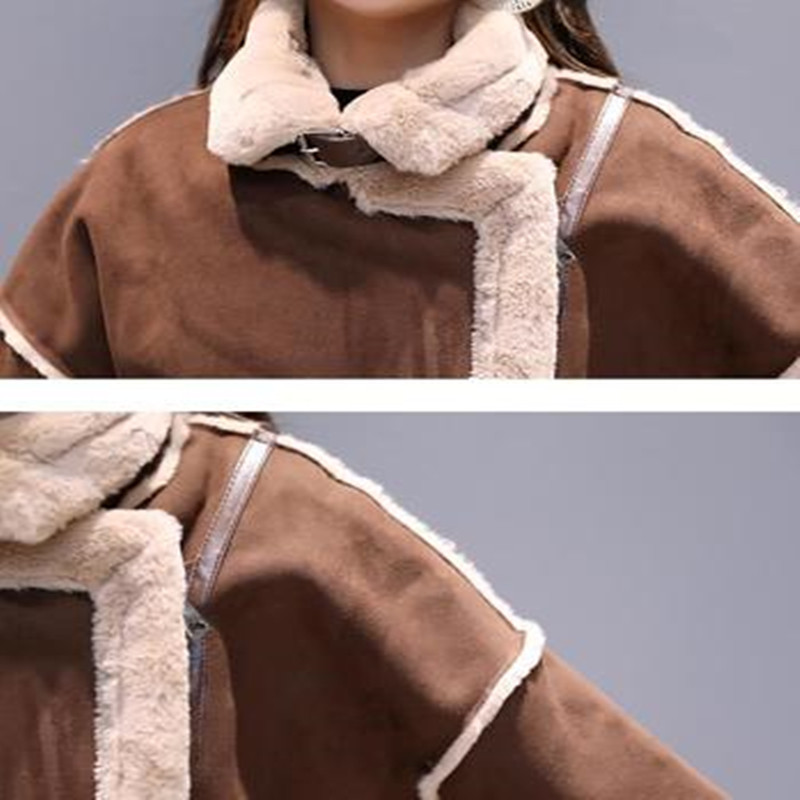 2019 Autumn And Winter New Fur One Machine Lamb Skin Coat Fur Collar Suede Stitching Woolen Coat Long Section