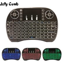 Jelly Comb 2,4G teclado inalámbrico Mini ruso 7 colores Teclado retroiluminado Fly Air Mouse con Touchpad Control remoto Android TV Box(China)