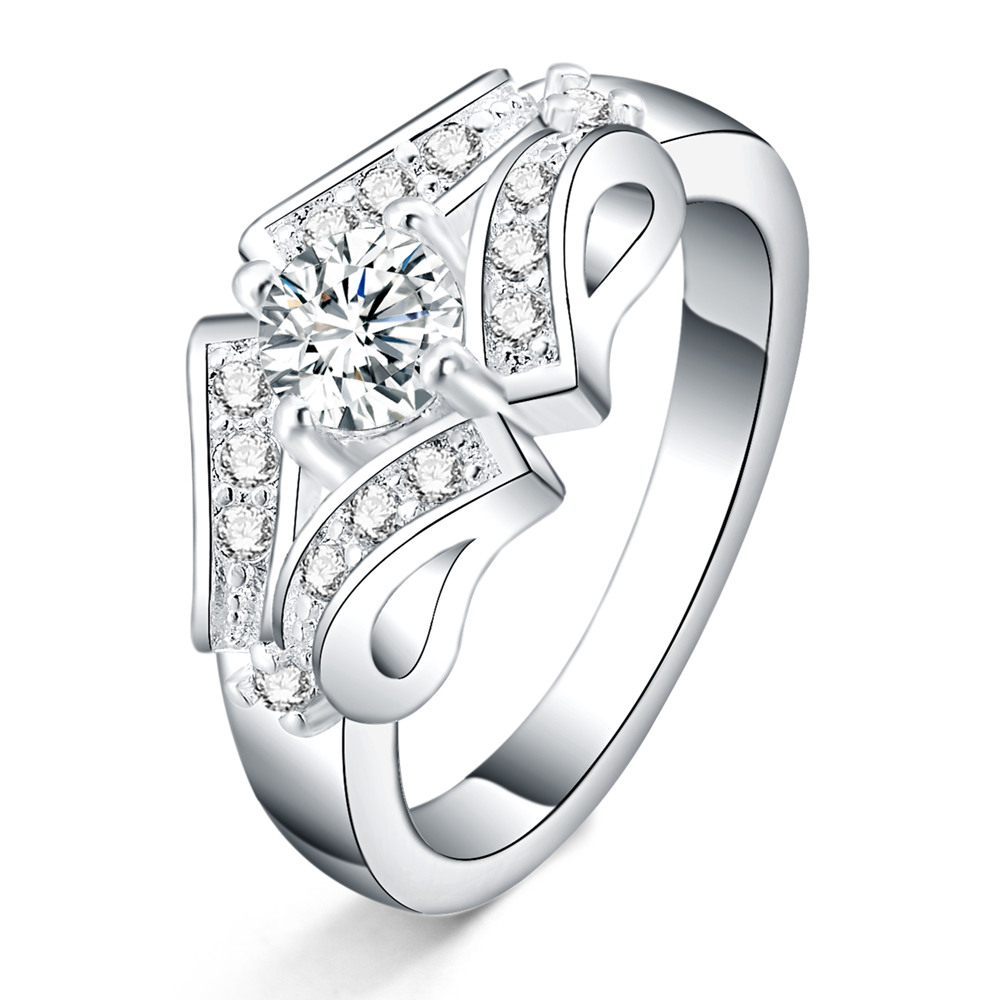 size 6-9 Beautiful silver crystal ring noble pretty fashion Wedding women Lady Ring jewelry CZ Zircon stamped925