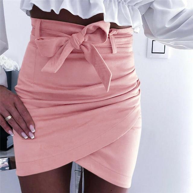 Asymmetric belt suede skirts women Bodycon leather Spring skirts 2019 New Sexy streetwear High waist Bandage short skirts femme 2