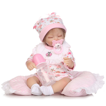 40 cm NPK Doll Girl Realistic Reborn Baby Short Hair Lifelike Newborn Pink Cloth Vinyl Silicone