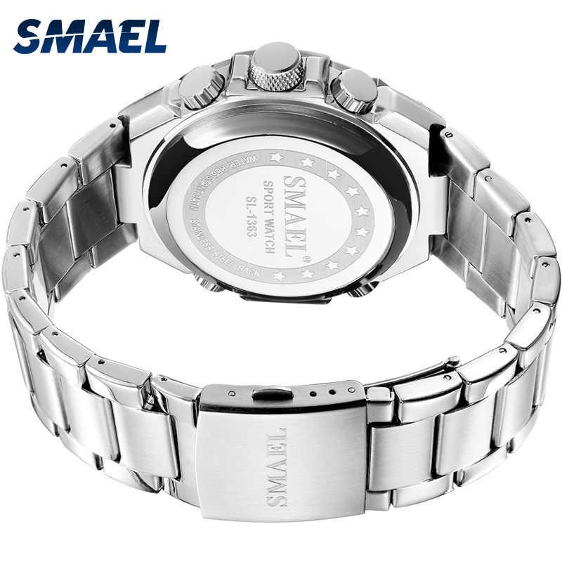 Relojes de cuarzo marca de lujo SMAEL reloj mecánico para hombre reloj automático del ejército 1363 calendario impermeable reloj de pulsera de cuarzo