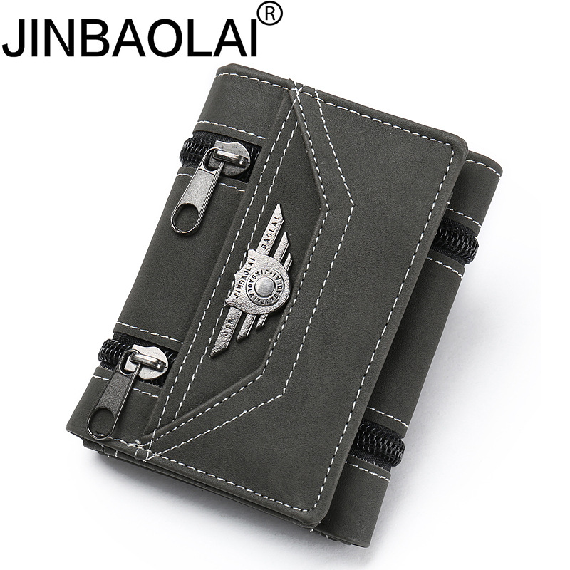 цена на JINBAOLAI Fashion Men Wallets Canvas Zipper Short Purses Multifunction Male Wallet Brand Hasp Money Bag Student Clutch Wallets