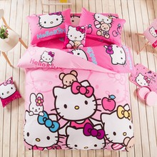 Free Shipping Pink Hello Kitty 100% Cotton Printed Bedding Set Bed Linen Duvet Cover Pillowcase Queen King Size Bed Sets