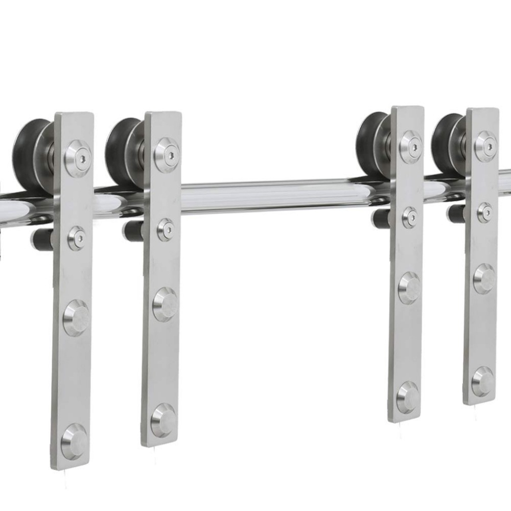LWZH 4-9.6FT J-Shaped Silver Modern Stainless Steel Puerta Corredera Wooden and Glass Sliding Door Hardware Kit for Double  Door