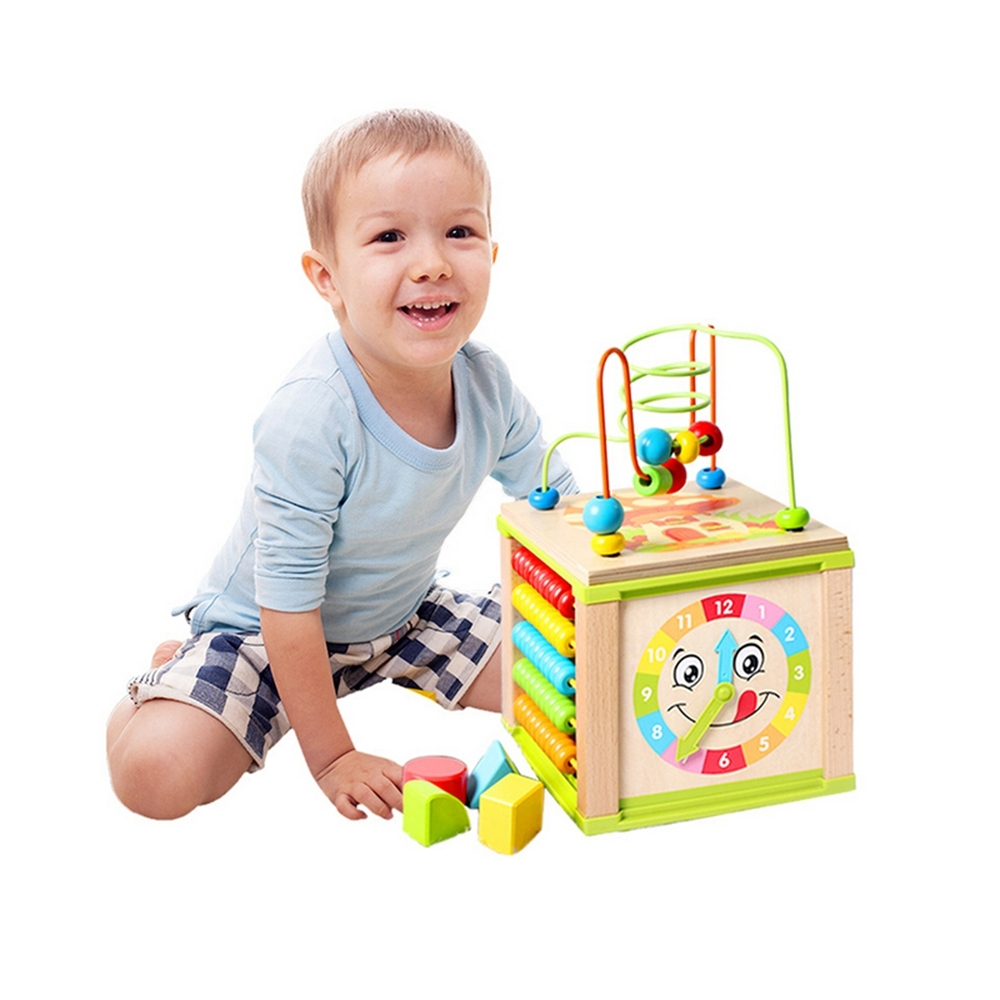 Baby Educational Toy Multifunctional Kids Wooden Bead Maze Activity Cube Intelligence Funny Early Learning Toys For Chidren Gift (3)