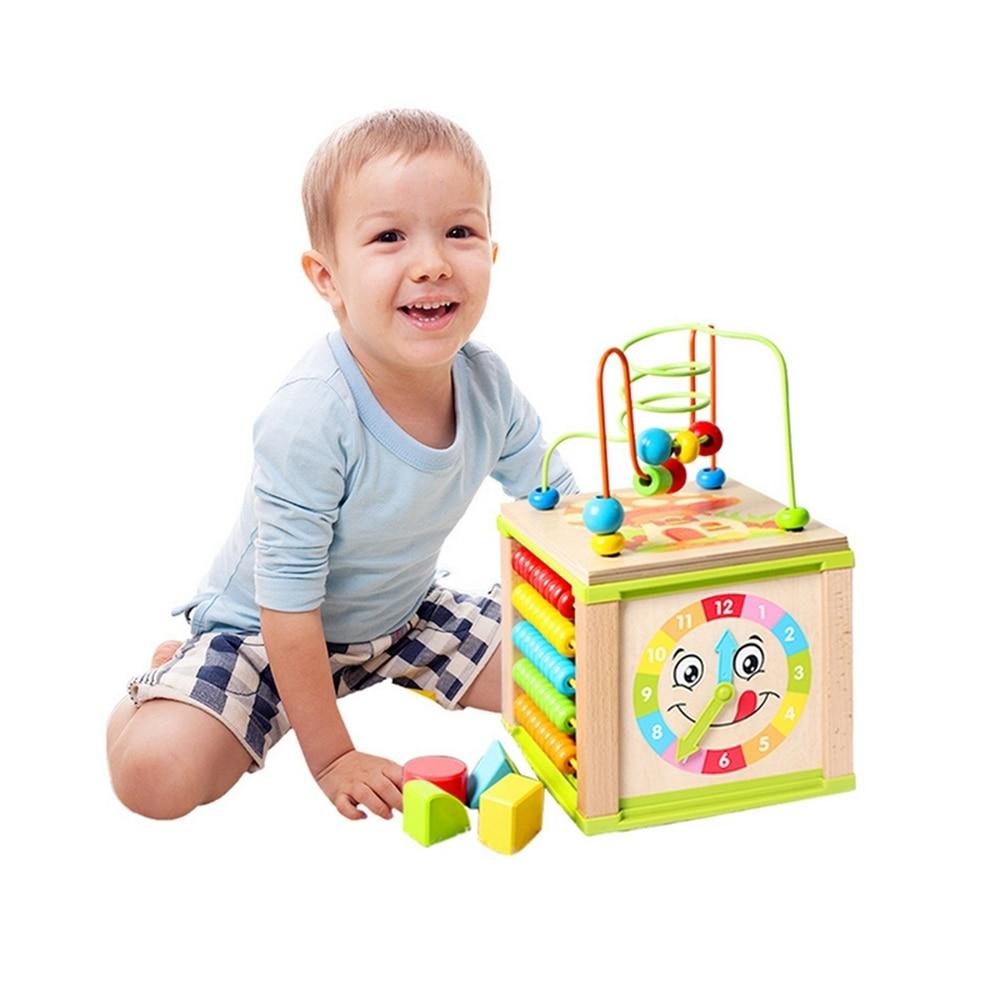 Juguete educativo para bebés, niños multifuncionales, cuentas de madera, laberinto, actividad, cubo, inteligencia, divertidos juguetes de aprendizaje temprano para regalo de niños (3)