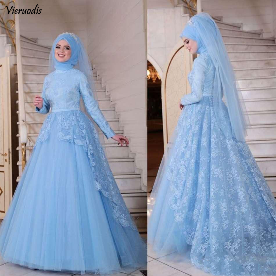 2019 New Lace Muslim Prom Dresses Sky Blue Long Sleeve A-line Evening Dress With Appliques Custom Formal Party Gowns