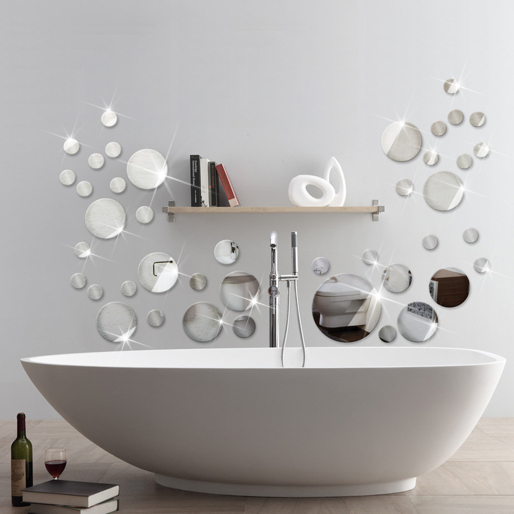 Wall art decals for bathroom - 2016 New Product 9pcs Pack Round Mirror Reflective Wall Stickers 3d Decal For Bathroom Living
