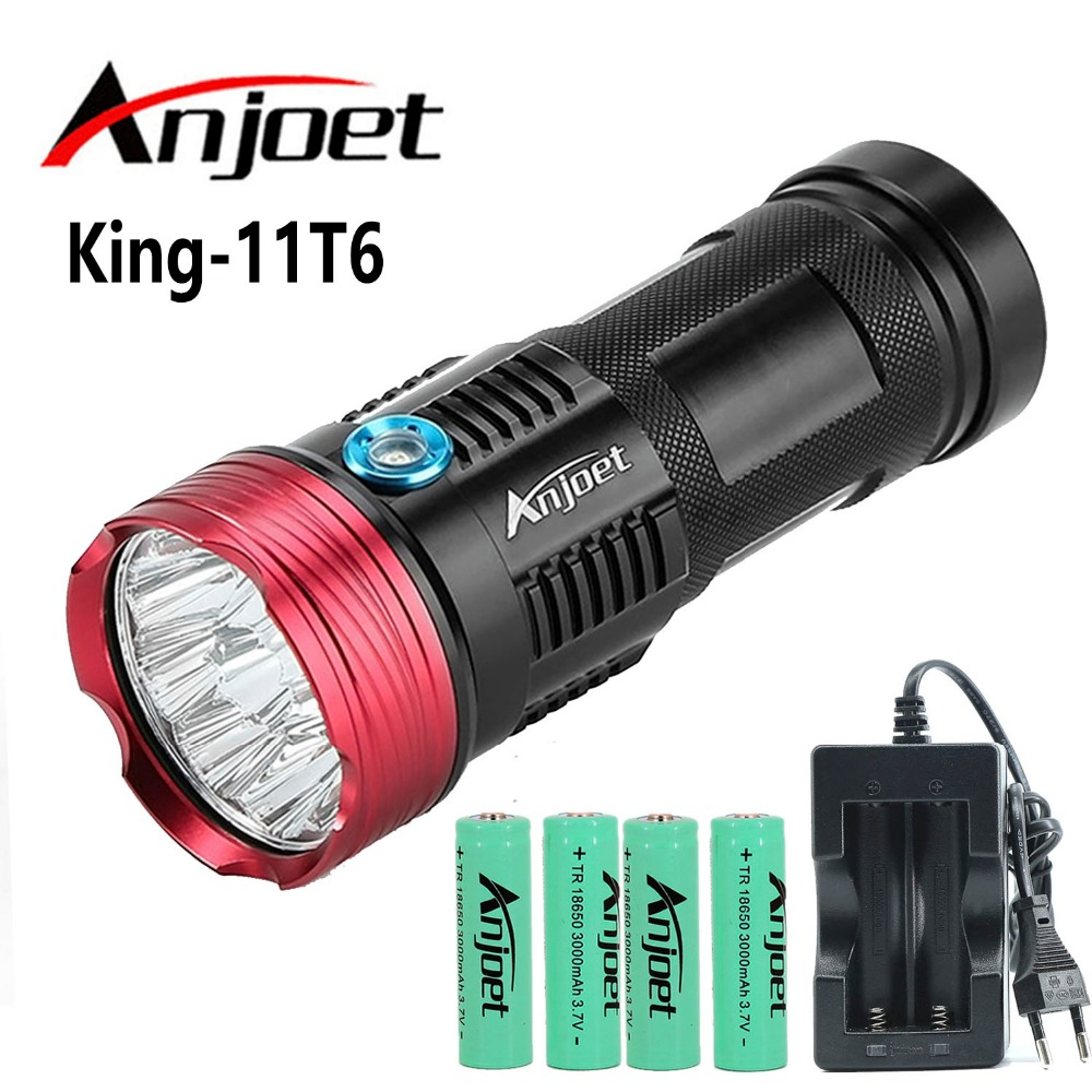 Powerful King XM-L-11* T6 led flashlight Tactical waterproof Torch lighting light lamp Lantern Hunting+4X 18650 Battery+Charger led tactical flashlight 501b cree xm l2 t6 torch hunting rifle light led night light lighting 18650 battery charger box
