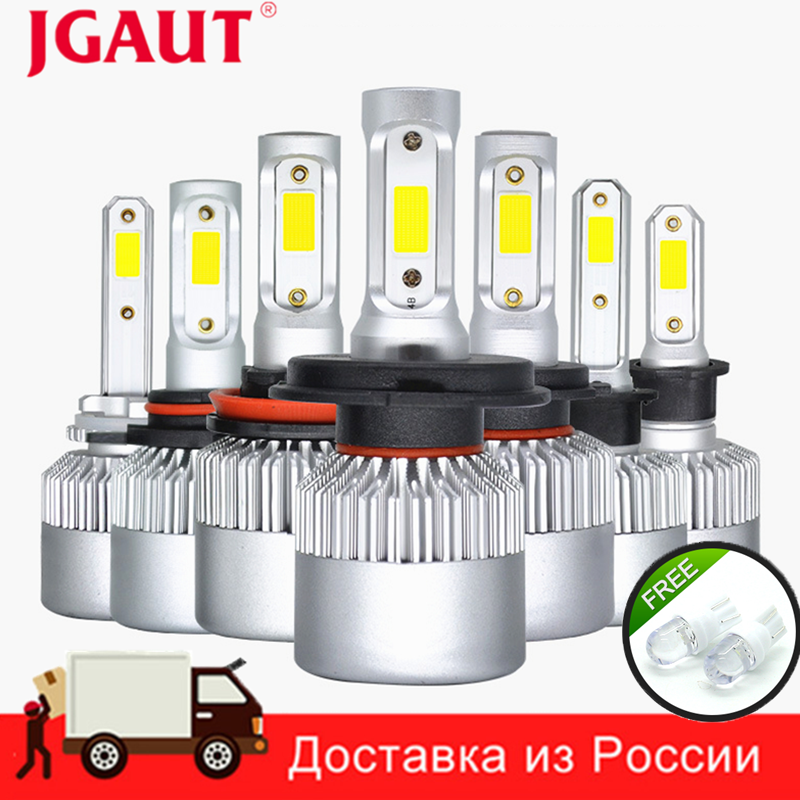 JGAUT 2PCs S2 H7 H4 LED Bulb Car Headlight H11 H1 H13 H3 H27 9005 880 881 9006 9007 Hi-Lo Beam 72W 8000LM Auto Headlamp Light