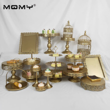 1 Pcs / Set Gold Crystal Vintage Birthday 3 Tire Wholesale Cupcake Dessert Wedding Metal Cake Stand