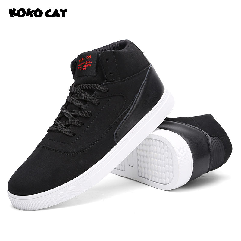 KOKOCAT 2018 Mens Sneakers Comfortable Casual Shoes Canvas Boots Fashion Shoes Winter Men Lace Up Boots