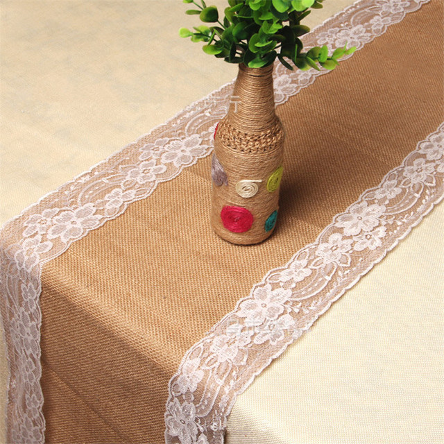 30X275cm Lace Hemp Table Runner Christmas Party Wedding Decoration