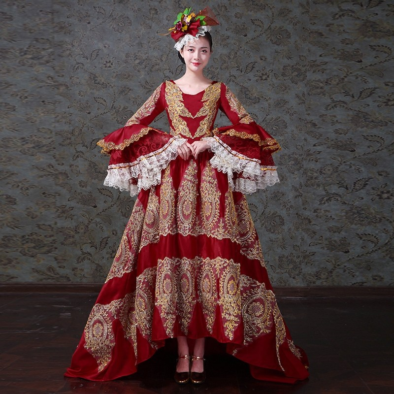 18th Century Long Flare Sleeve Rococo Baroque Party Dress European Court  Red Marie Antoinette Ball Gowns Theater Costumes a2464dbc1c95