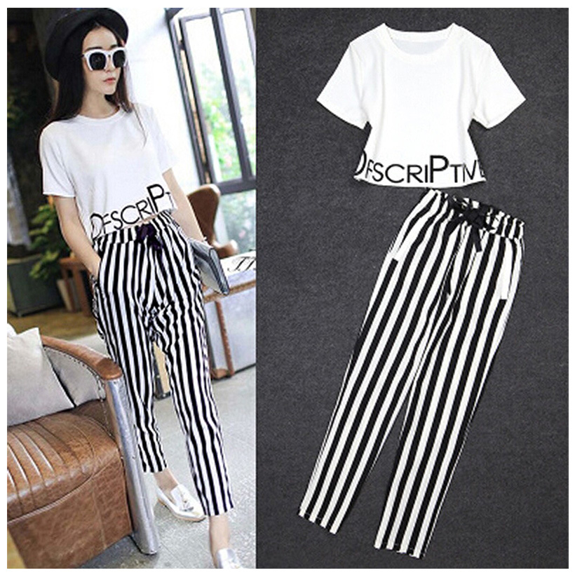 Ellacey 2019 Women Clothing Set Spring Summer Suit Striped Casual Shirt And Pant Set Womens Tracksuits 2 Piece Set With Sashes