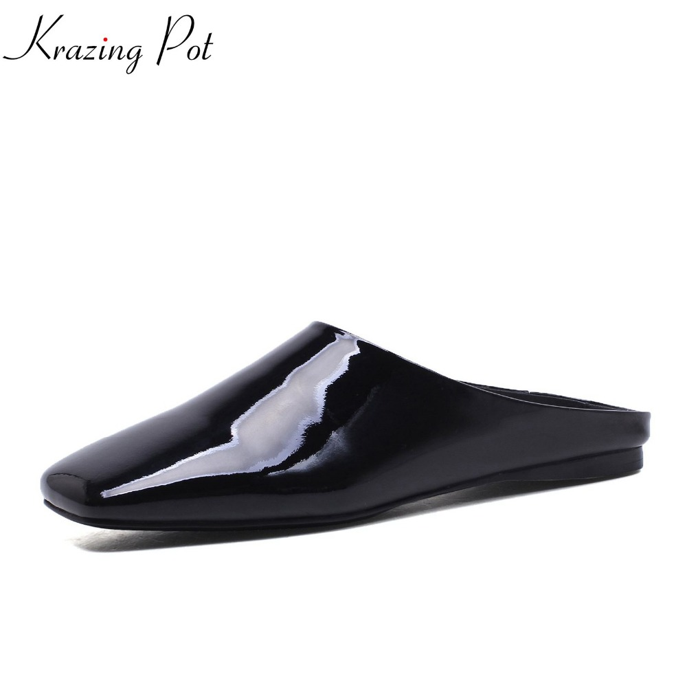 2018 New fashion high quality brand summer shoes square toe simple women slippers solid color slip on flats mary janes shoes L05 2017 new fashion women summer flats pointed toe pink ladies slip on sandals ballet flats retro shoes leather high quality