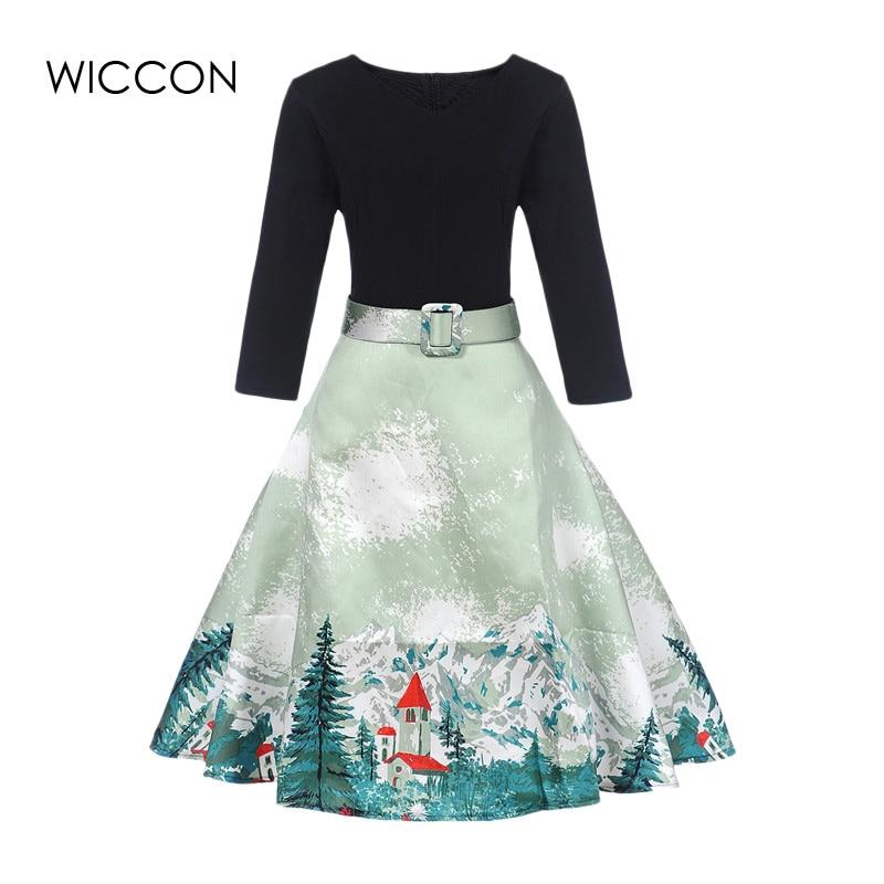 New Autumn Vintage Dress Women S-XL Print Dresses Woman High Defined Waist Knee Length Fall Clothes A-line Three Quarter Sleeve