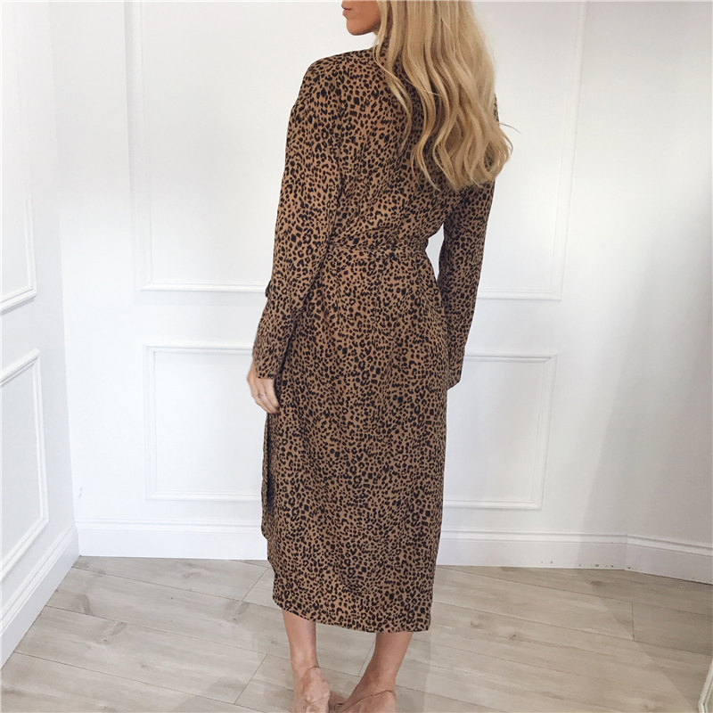 Womens Casual Long Leopard Dress with Turn Down Collar
