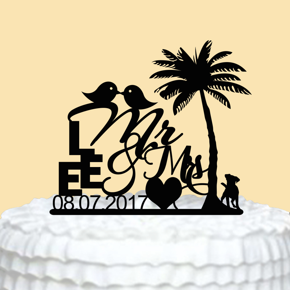 Personalized Cake Topper for Wedding Mr Mrs Cake Topper Bird and Dog ...