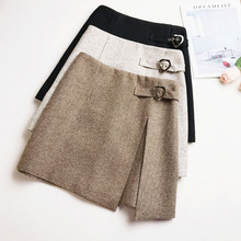 bd04262657 Daylook mujeres lana Mini falda Otoño Invierno línea a sólido elegante  Skater falda cintura alta Raja