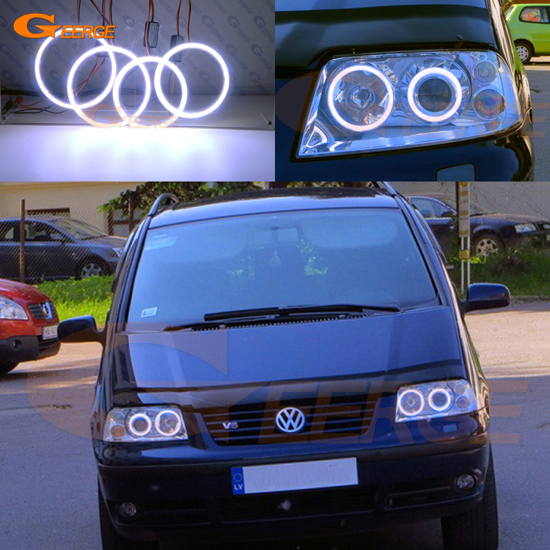 For Volkswagen VW Sharan 2000-2010 Xenon headlight Excellent angel eyes Ultra bright illumination COB led angel eyes kit 2pcs purple blue red green led demon eyes for bixenon projector lens hella5 q5 2 5inch and 3 0inch headlight angel devil demon