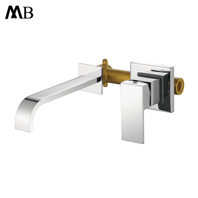Bathroom Basin Mixer Chrome  Brass Wall Mounted Basin Faucet Single Handle Mixer Tap Hot And Cold Water Faucets