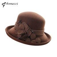 Fibonacci High Quality Female Fedora Hat Dome Floral Wool Felt Hats for Women Bucket Elegant Fedoras