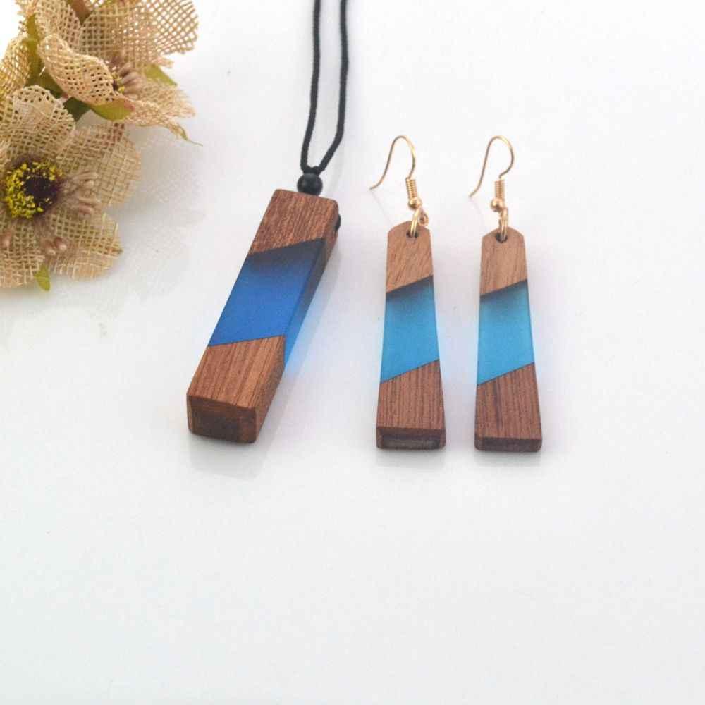 Leanzni новейший античный деревянный набор полимерного ожерелья, синие модные украшения, вязаные веревки, специальные подарки, оптовая продажа