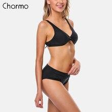 Charmo Women Bikini Set Striped Swimwear back Strappy Adjustable Swimsuit Cross Front Bathing Suit Padded Beachwear wire free padded criss cross strappy bikini set