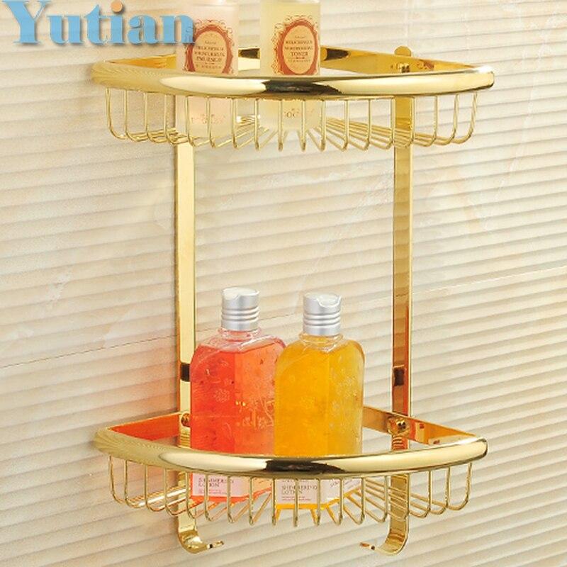 Free Shipping Wall Mounted gold color solid brass Bathroom Shower shampoo Shelf  bathroom Basket Holder Fashion Double Layer