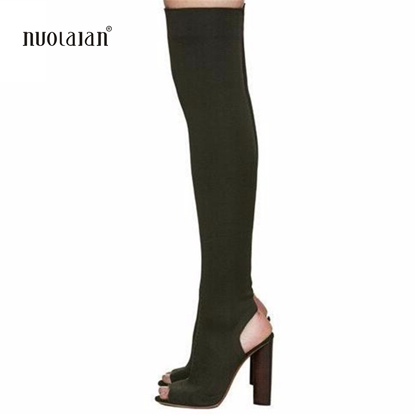 Women Shoes Over The Knee Boots Sexy Thigh High Boots 2018 Summer Ladies Fashion High Heels Boots Shoes Woman 2017 sexy thick bottom women s over the knee snow boots leather fashion ladies winter flats shoes woman thigh high long boots