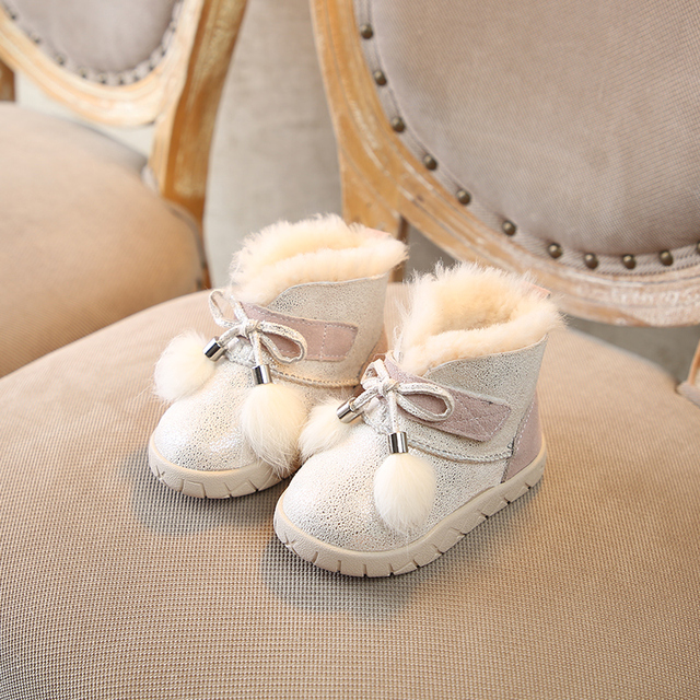 2018 winter new kids snow boots Keep warm girls cute princess anti slip and thickening wool boots Super soft and comfortable Girl's Shoes
