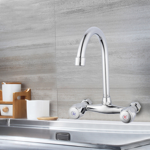 Image 4 - SHAI Wall Mounted Kitchen Faucet Wall Kitchen Mixers Kitchen Sink Tap 360 Degree Swivel Flexible Hose Double Holes