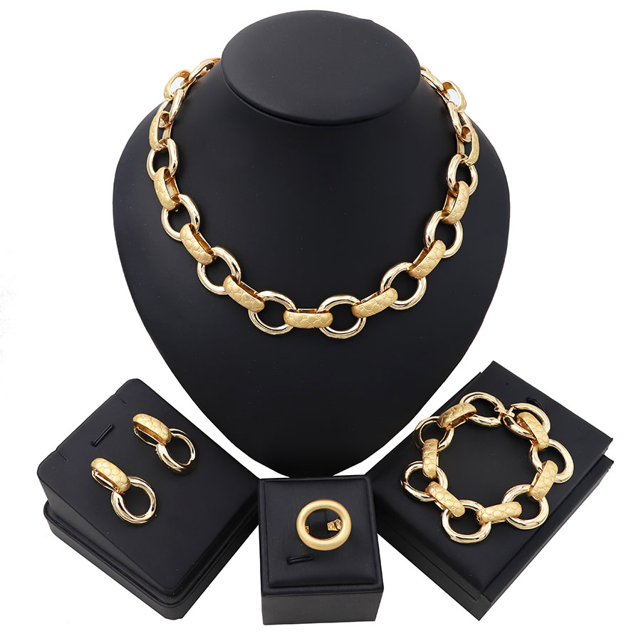 TSROUND Fashion Costume Jewelry Set African Gold Color for Party Wedding Women(China)
