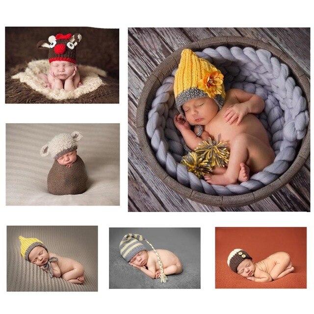 16 Цветов для выбора Детские Трикотажные Шапки Ручной Очаровательны Мультфильм Животных дизайн Оленей и Овец стиль Новорожденный Фотографии Реквизит