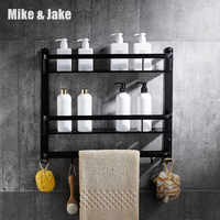 Cuarto de baño estante negro de aluminio estante de esquina de baño soporte de baño cesta de ducha accesorios de baño MH8510B