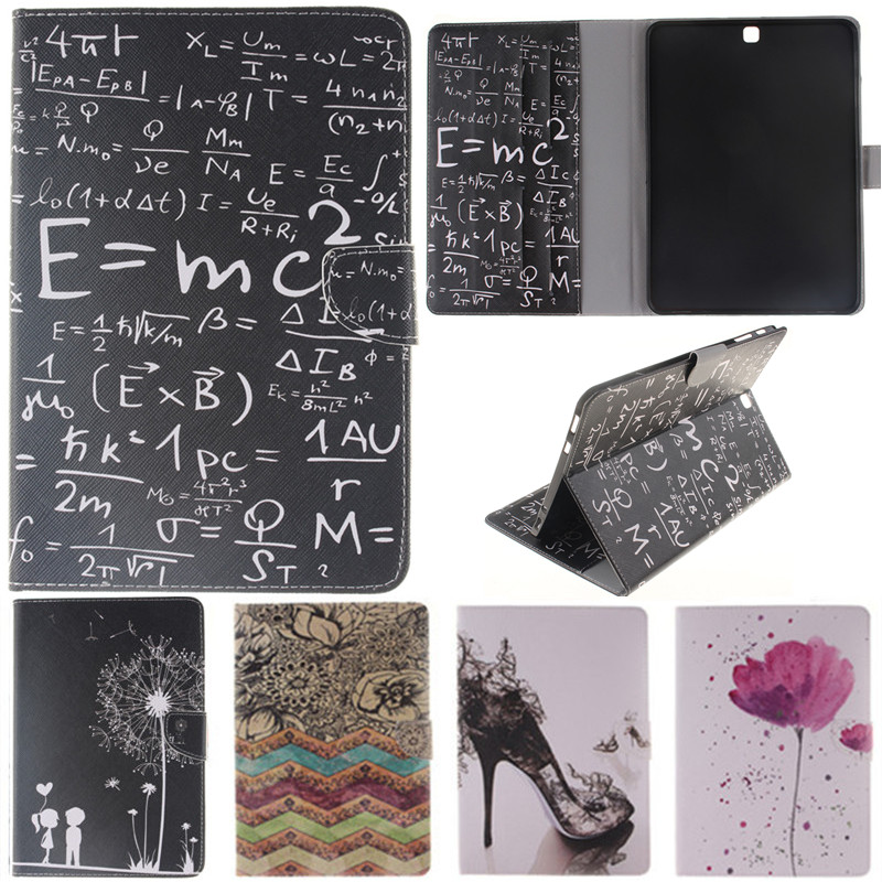 Cute Cartoon Black Lover Flower Formula Flip Leather Case For Samsung Galaxy Tab S2 9 7