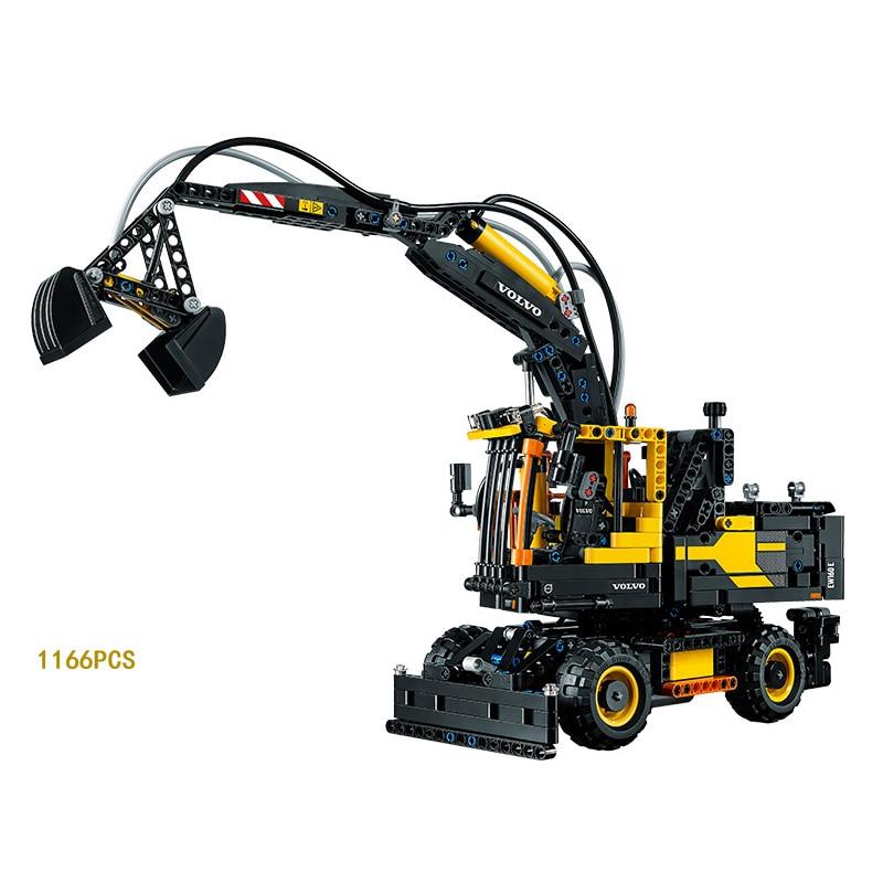 Hot Technics Technican Engineering Vehicle EW160E Excavator Building Block Electric Figures Toys Model Compatible Lepine Gift lepine model