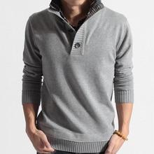 Men Hot Autumn Winter Casual Sweaters Full Sleeve Button New Design Slim Pullovers Slim Mandarin Collar Patchwork Warm Swearters