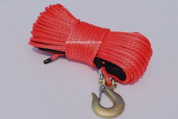 Red 6mm*30m ATV Synthetic Winch Rope,ATV Winch Relay,Boat Winch Cable,Durable UHMWPE Rope For ATV UTV Vehicle Car Motorcycle