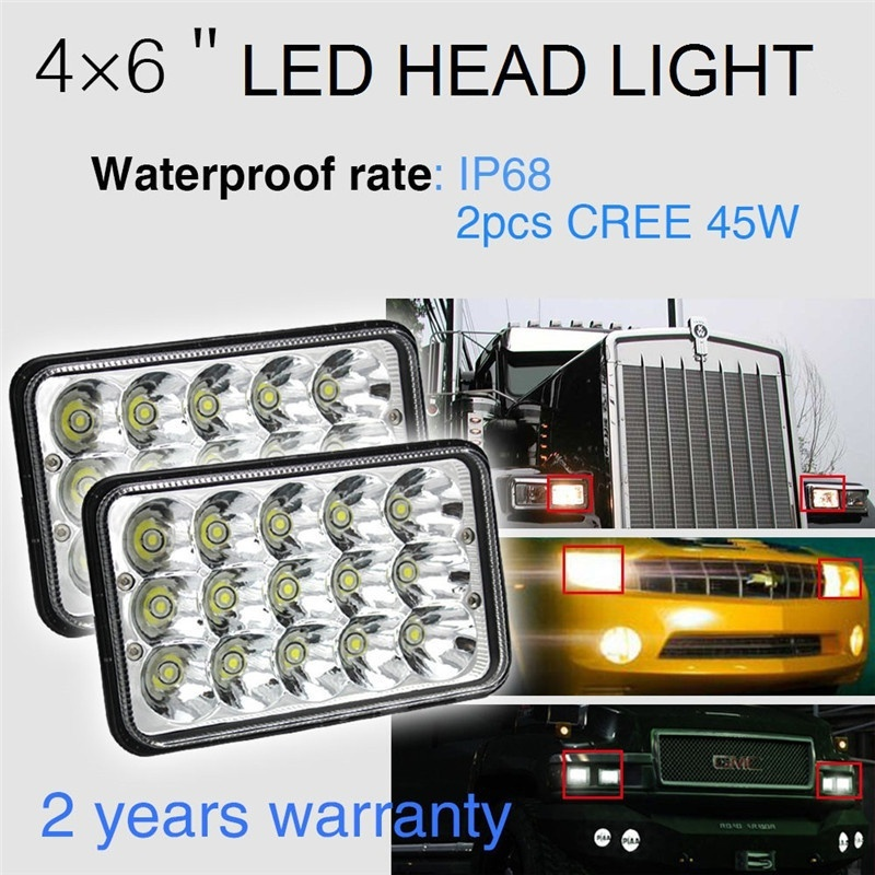 CO LIGHT 1 Pair 4X6 Led Headlight 45W Hi Lo 6500K DRL Car Light Replace for H4651/H4652/H4656/H4666 Tractor Kenworth Chevrolet