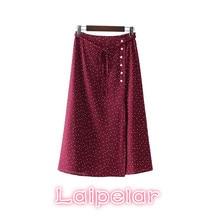 2018 Summer boho skirts womens sweet bow tie polka dots wrap skirt falda mujer button vintage ladies casual chic mid calf
